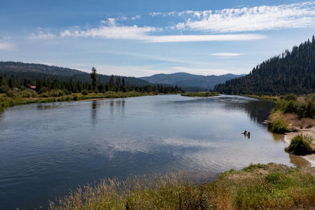 The lodge is next to the Payette River, a favorite spot for swimmers and rafters