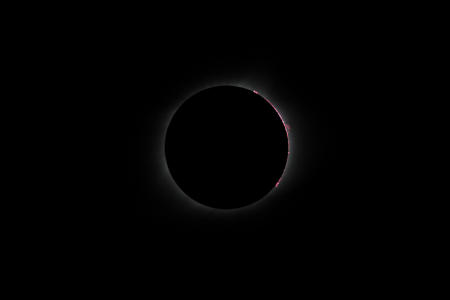 During totality with prominences