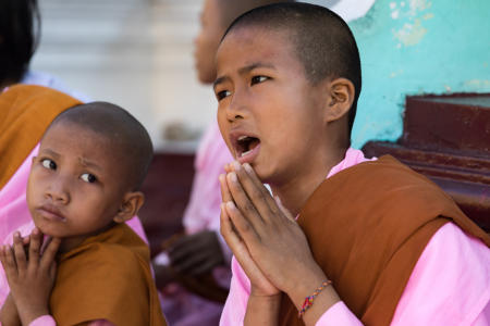 Young nuns at Shwedagon Pagoda