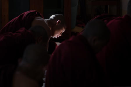 Monk in class, Aung Chan Thar monastery, Aung Ban