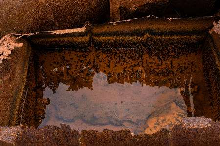 Standing water in rusted oil barrel at the Bluie East 2 abandoned American Air Base, Ikatek, East Greenland